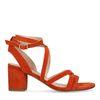 Sandales en daim avec talon bas - orange