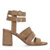 Braune Veloursleder-Sandaletten mit Schnallen
