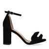 Schwarze Sandaletten mit Rüschen