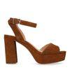 Cognac sandalen met blokhak