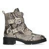 Snakeskin biker boots met gespen