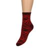 Rote Glitzer-Socken mit Zebramuster