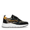 Schwarze Dad-Sneaker mit Leopardenmuster