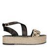 Zwarte plateau sandalen met touw