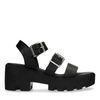 Schwarze Sandaletten mit doppelter Schnalle