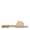 Claquettes en cuir avec bande tressée - beige