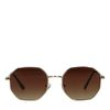 Goudkleurige retro zonnebril met bruine glazen