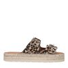 Leoprint-Sandalen mit silbernen Schnallen