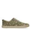 Khaki canvas sneakers met all over print