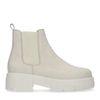 Chelsea boots courtes en nubuck - blanc cassé