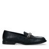 Zwarte leren loafers met crocoprint