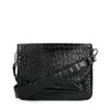 Zwarte schoudertas met crocoprint