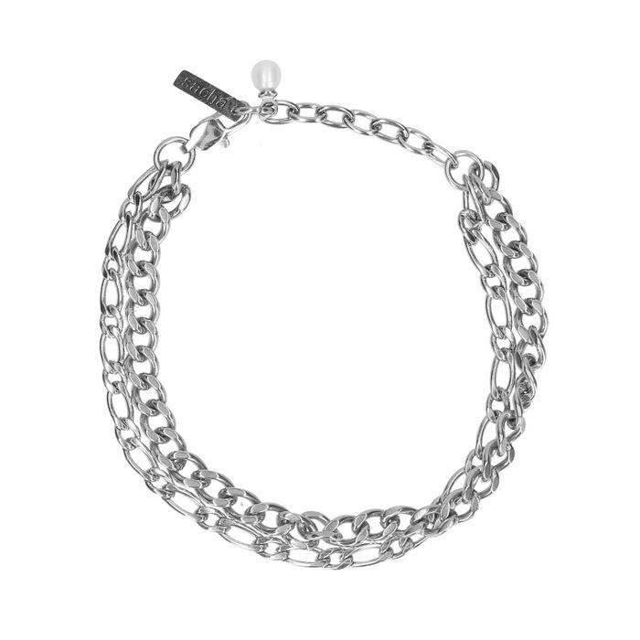 Double bracelet maillons - argenté