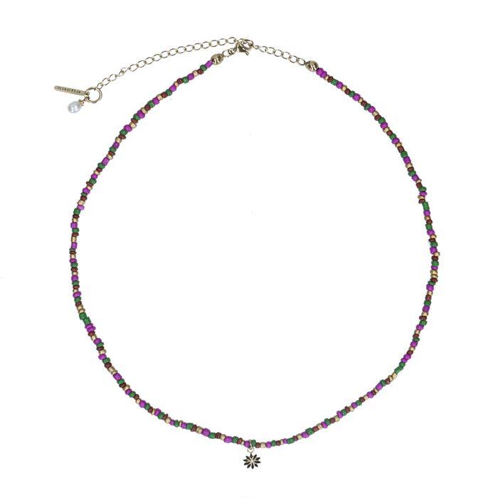 Collier avec perles et breloque - multicolore