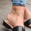 Bracelet de cheville avec breloques - argenté