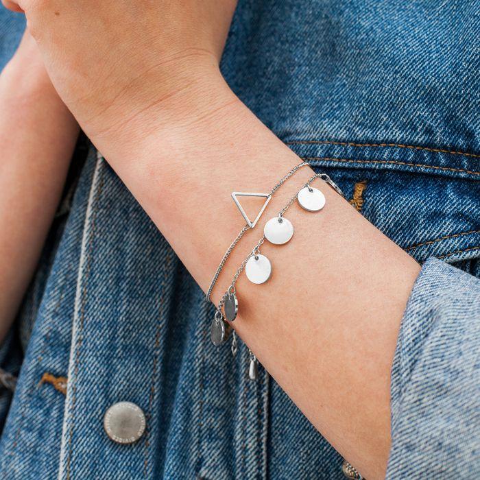 Bracelet avec cercles - argenté