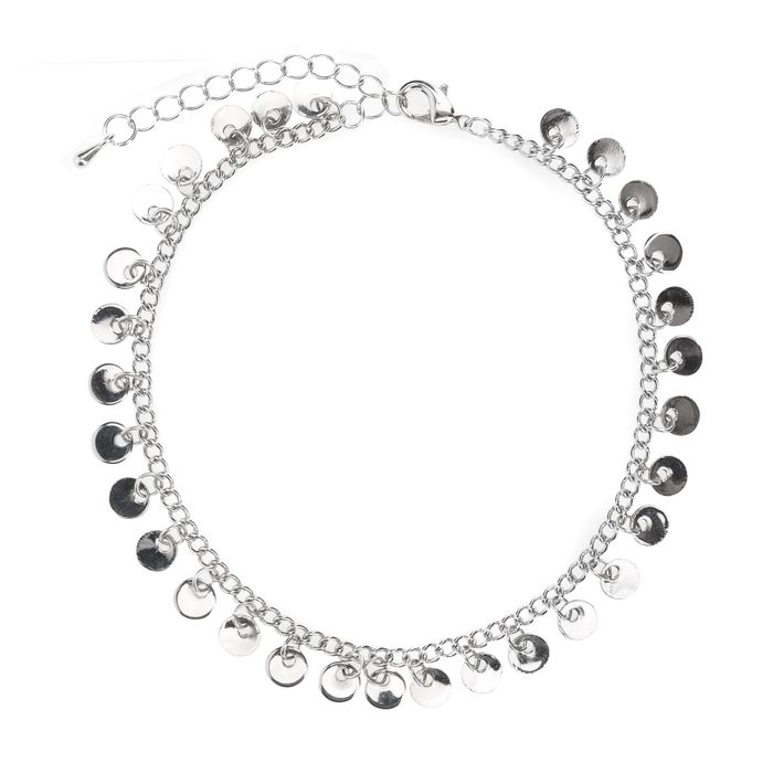 Bracelet de cheville avec cercles - argenté