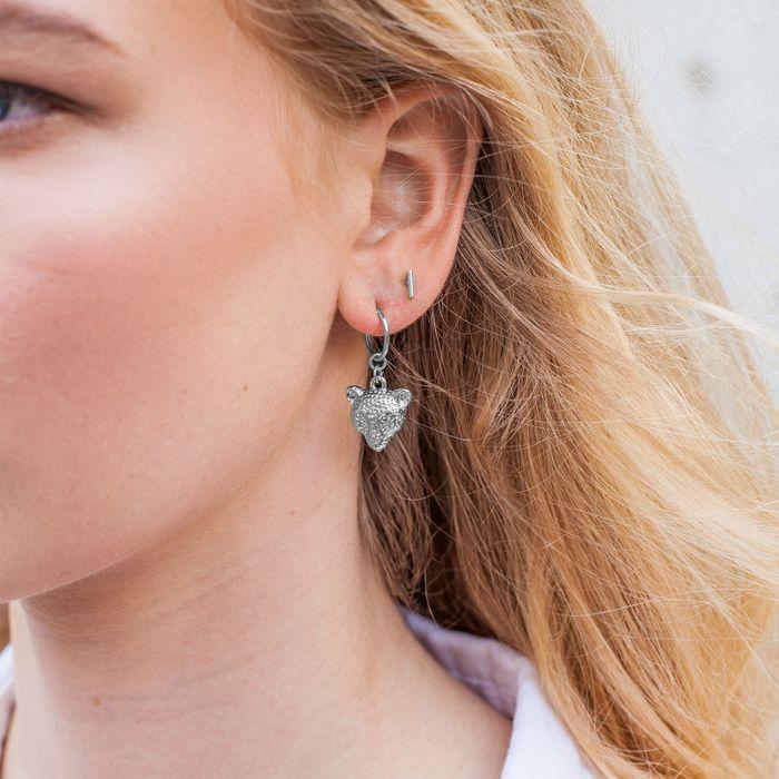 Boucles d'oreille avec tête de tigre - argenté
