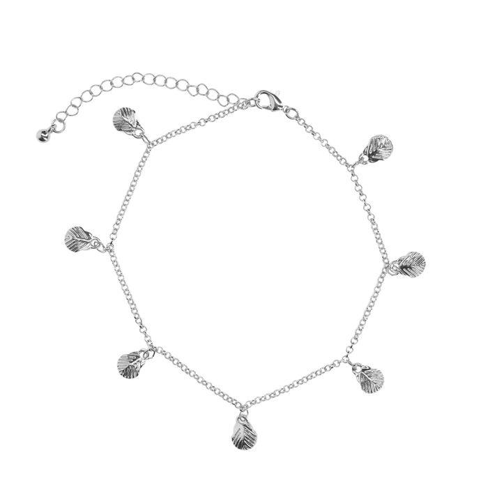 Bracelet de cheville avec petits coquillages - argenté