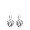 Boucles d'oreille avec pendentif en forme de cœur - argenté