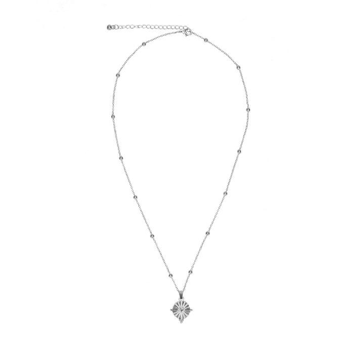 Collier avec pendentif rond - argenté