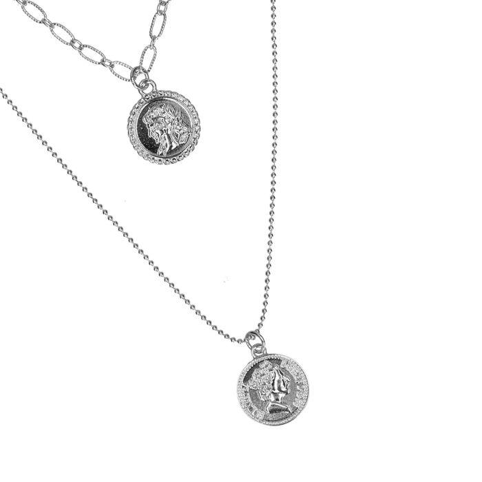 Collier double avec petites pièces - argenté