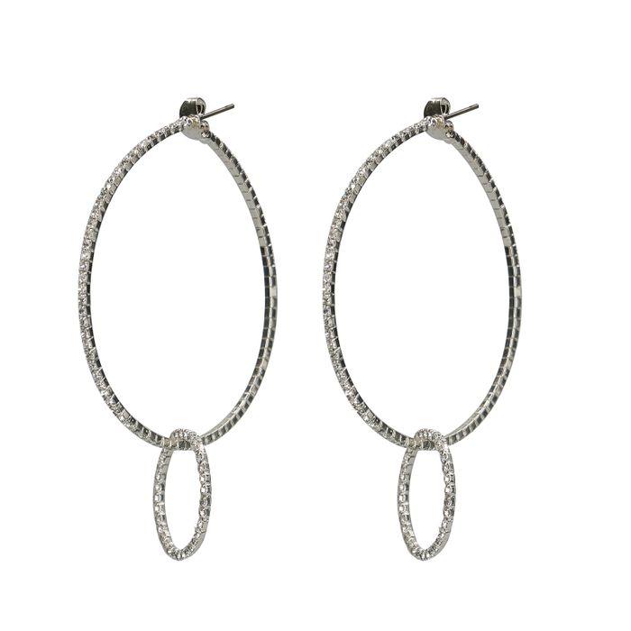 Boucles d'oreilles rondes en argent avec pierres