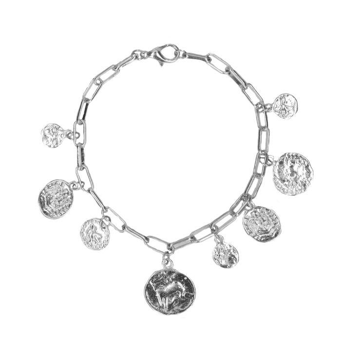 Bracelet de couleur argent avec pièces de monnaie