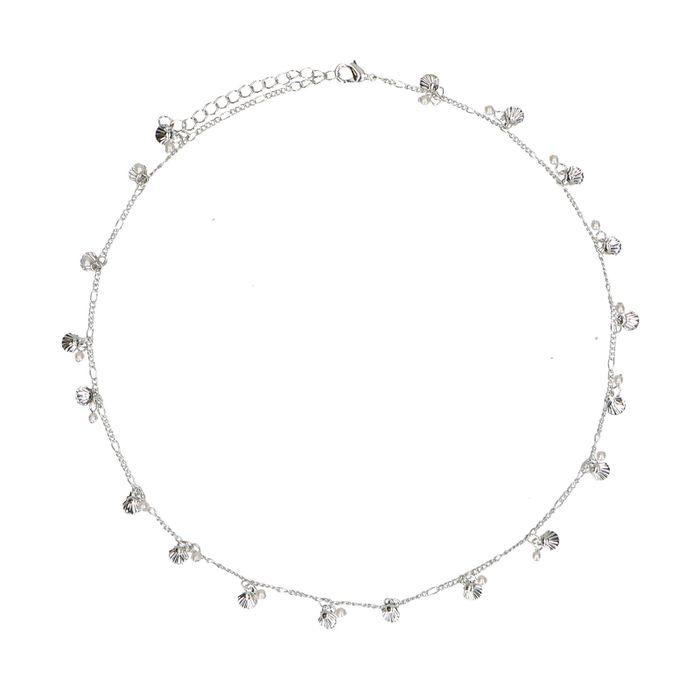 Collier avec coquillages et perles - argenté
