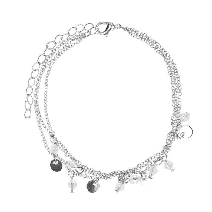 Bracelet de cheville multi-rangs - argenté