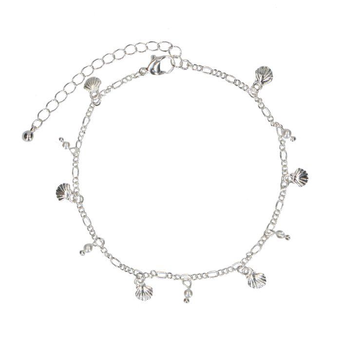 Bracelet de cheville avec coquillages et perles - argenté