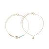 Bracelet de cheville multi-rangs avec coquillages et perles - doré
