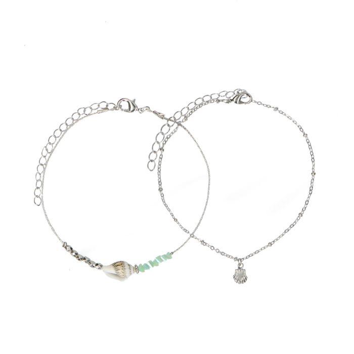 Bracelet de cheville multi-rangs avec coquillages et perles - argenté