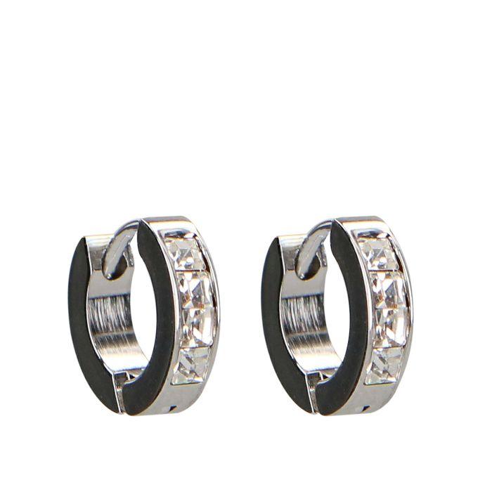 Boucles d'oreille avec petites pierres - argenté