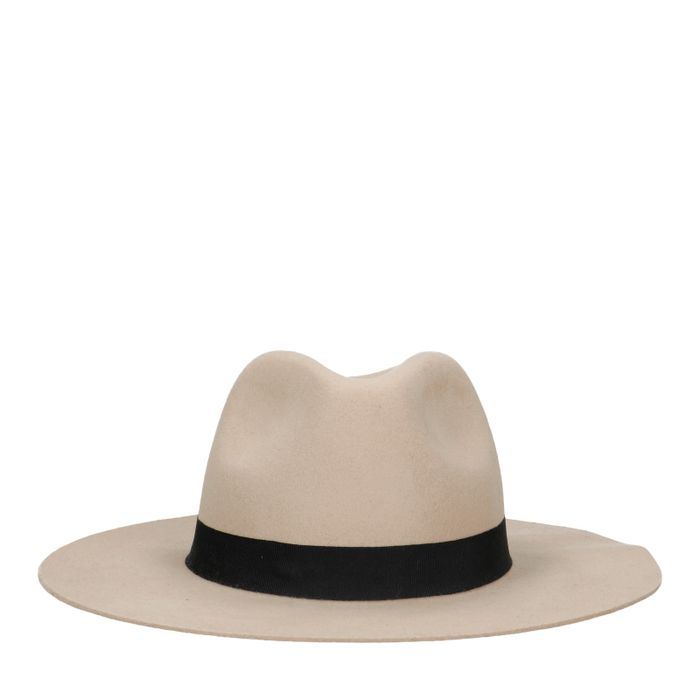 Beige wollen hoed met zwarte band