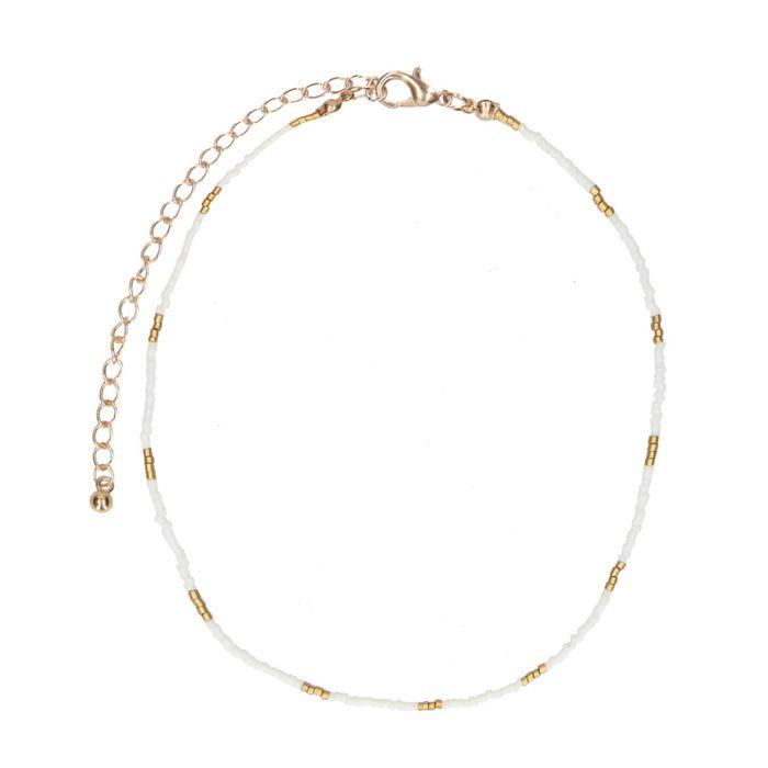 Collier avec perles dorées - blanc