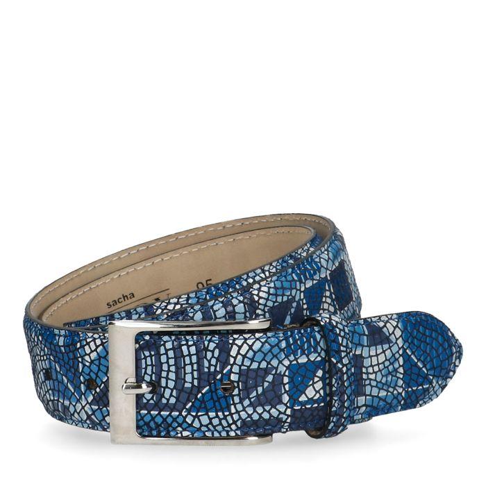 Blauer Gürtel mit Mosaikmuster