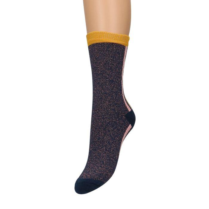 Blauwe glitter sokken met roze details