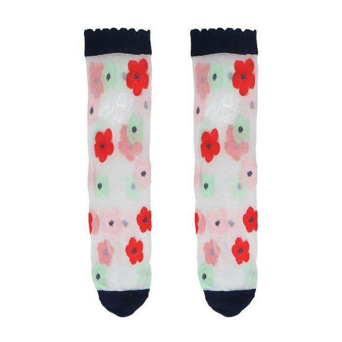 Blauwe doorzichtige sokken met bloemen