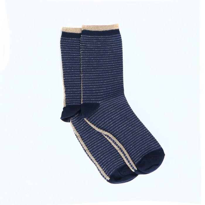 Chaussettes pailletées à rayures - bleu