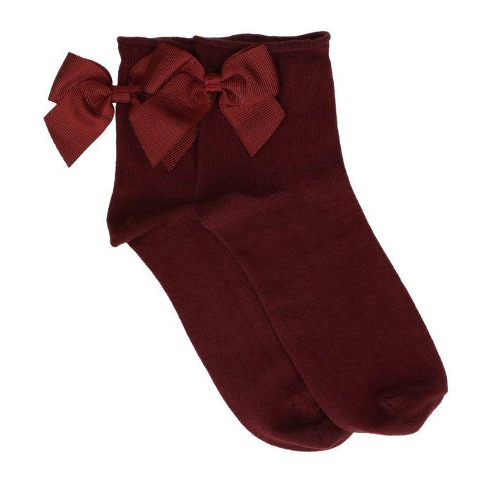 Chaussettes avec nœud - bordeaux