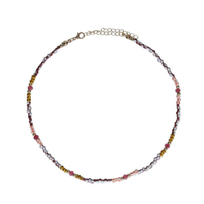 Goldfarbene Kette mit farbigen Perlen