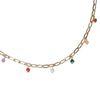 Goldfarbene Gliederkette mit bunten Perlen