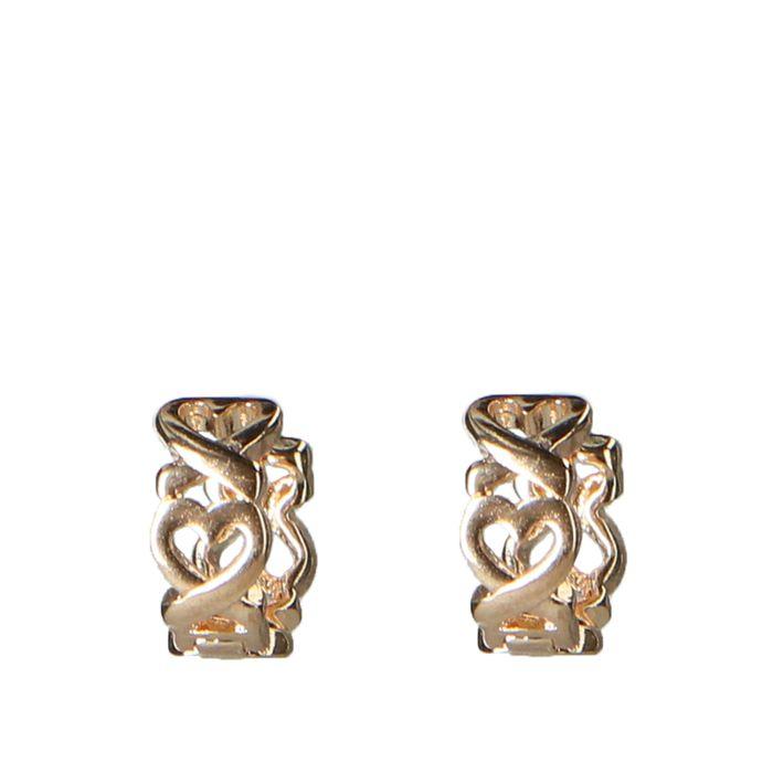 Goldfarbene Ohrringe mit Herz-Muster