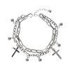 Zilverkleurige dubbele armband met bedeltjes