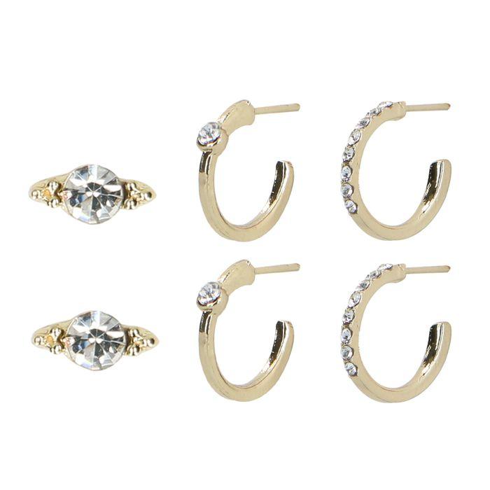Set van 3 goudkleurige oorbellen