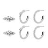 Set van 3 zilverkleurige oorbellen