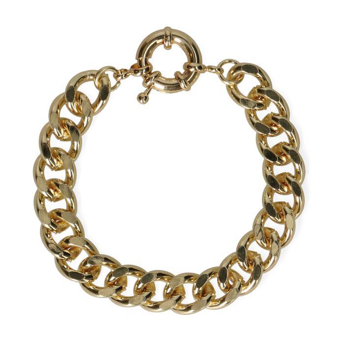 Grove goudkleurige schakelarmband