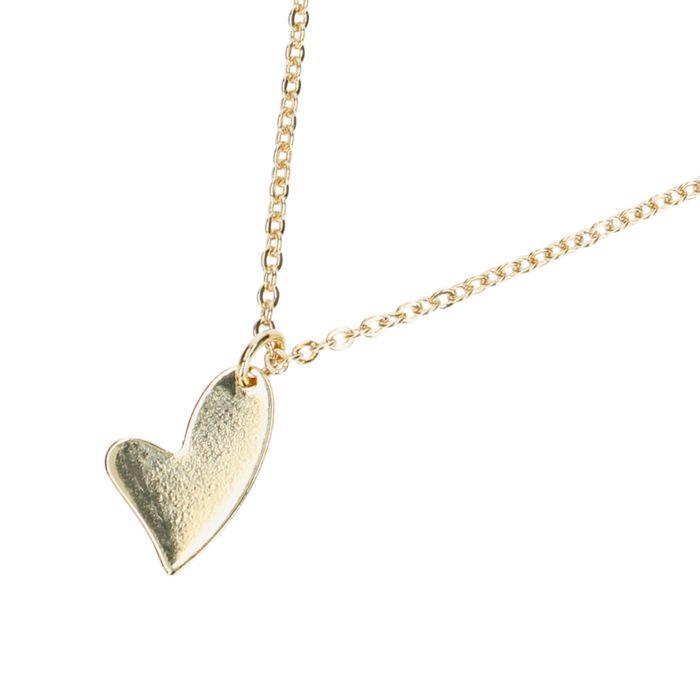 Goudkleurige ketting met asymmetrisch hartje
