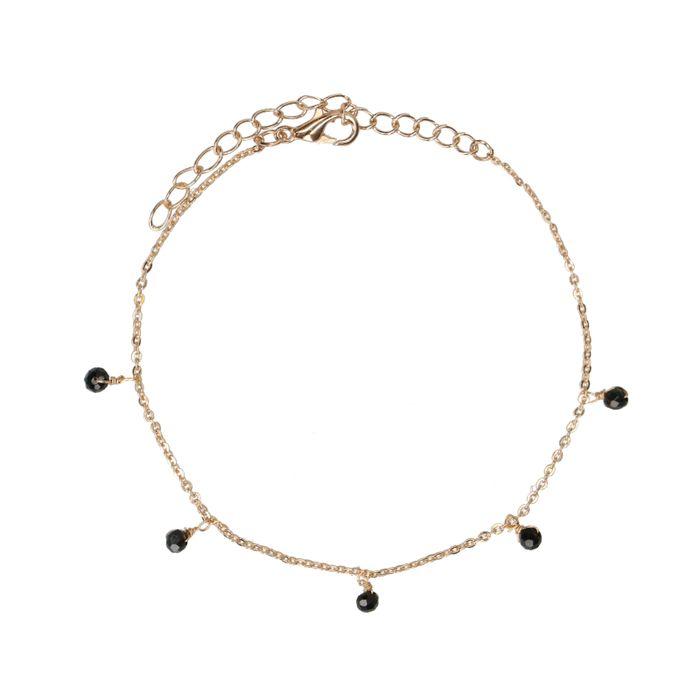 Goudkleurig armbandje met zwarte kraaltjes
